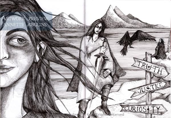 Page of Swords - Pen & Ink by Annette Abolins