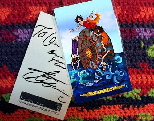 Signed card Nine Lives Tarot  by Annette Abolins