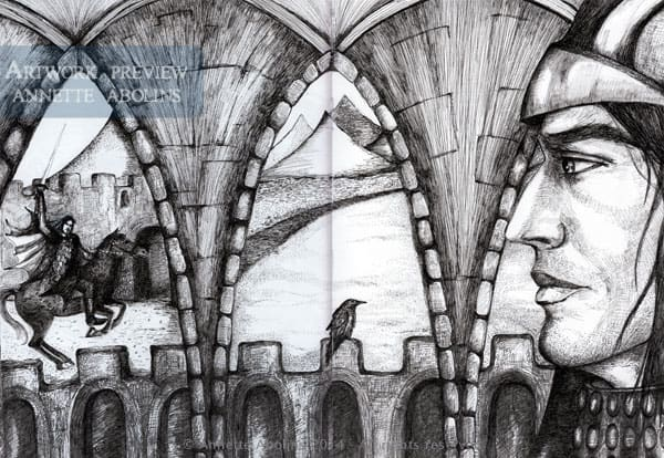 Knight of Swords - ink drawing Annette Abolins