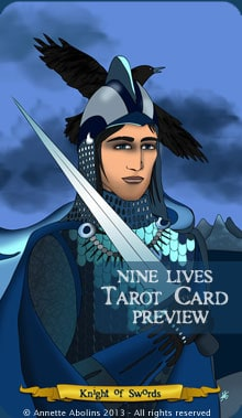 Nine Lives Tarot - Knight of Swords - Annette Abolins