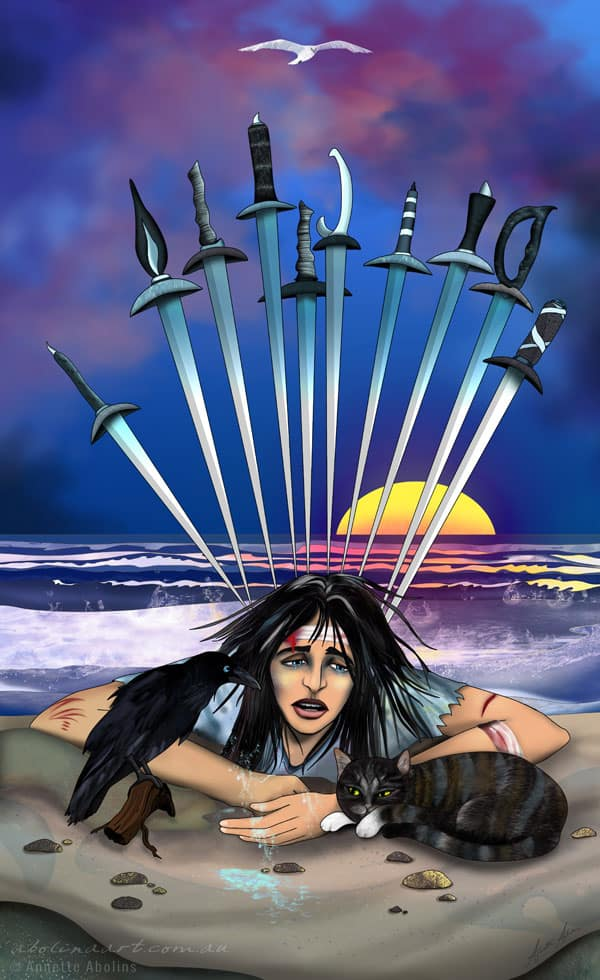 10 of Swords Tarot artwork