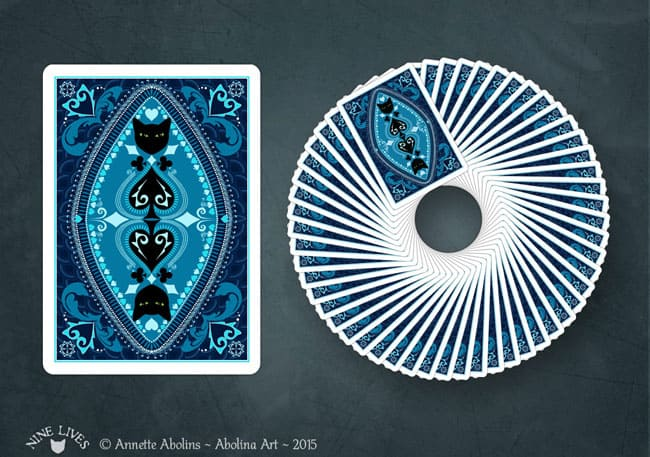 Nine Lives - Poker size card back design by Annette Abolins