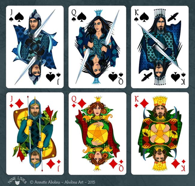 Courts from Nine Lives Playing Cards - Spades and Diamonds