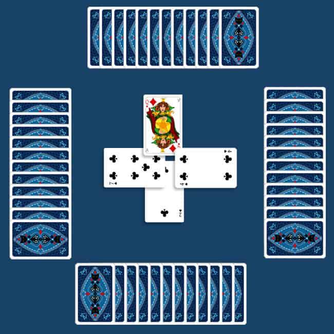 Hearts first round of tricks