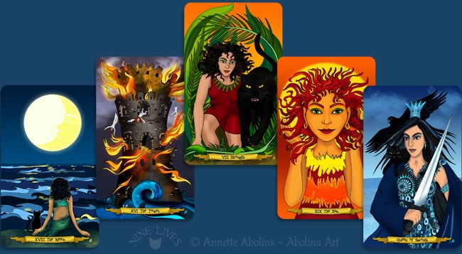 Some of my favourite cards - Nine Lives Tarot