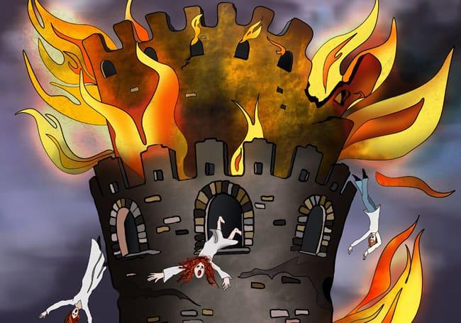 The Tower - Nine Lives Tarot - Detail