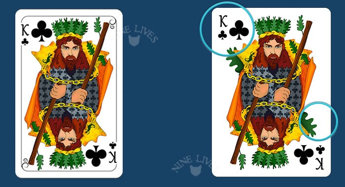Comparing editions - Nine Lives King of Clubs