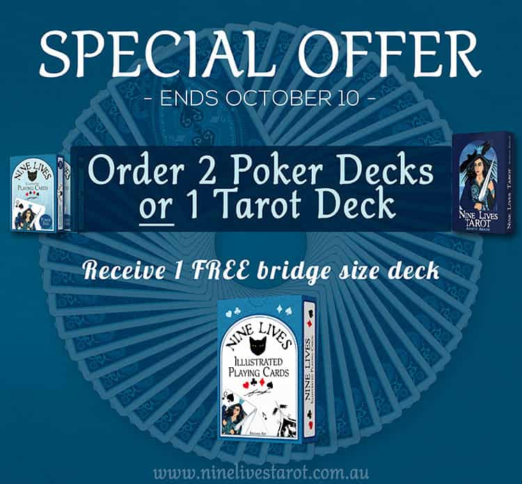 Order 2 poker decks or 1 tarot deck to receive a free bridge size deck before Oct 10
