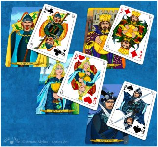Transition from tarot to playing card - examples of court cards from Nine Lives ...