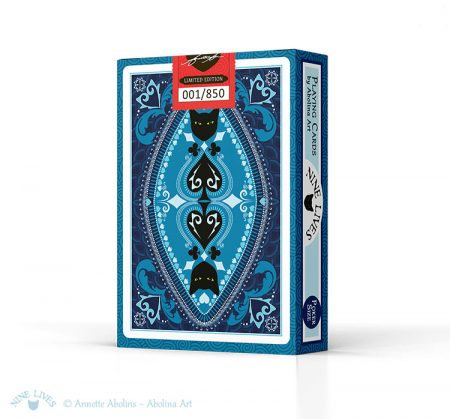 Back of tuck box - Nine Lives Playing Cards