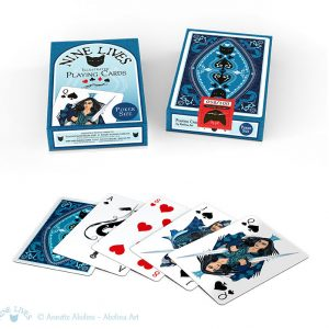 Front and back side of tuckbox and 5 Nine Lives Playing Cards