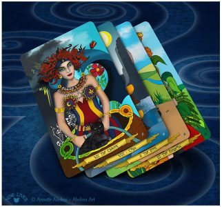 4 cards from Nine Lives Tarot - Chariot, VIII Cups, Fool & Empress