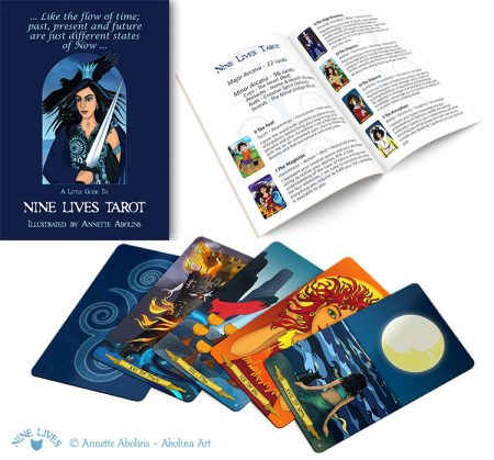 Little guide booklet included with Nine Lives Tarot
