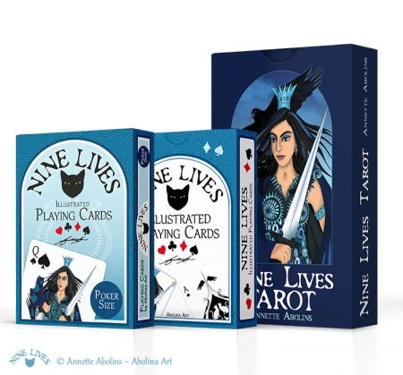 3 Deck Collectors' Set - Nine Lives Tarot & Playing Cards, bridge and poker size