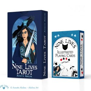 2 Deck set including Nine Lives Tarot and bridge size Playing Cards