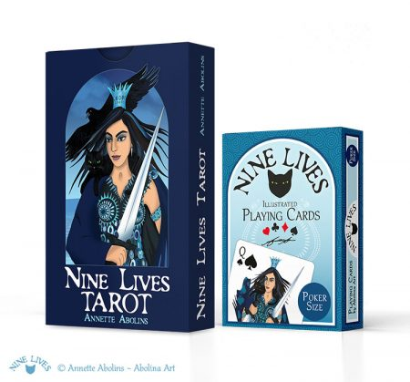 2 Deck Set: Nine Lives Tarot & Poker size Playing Cards
