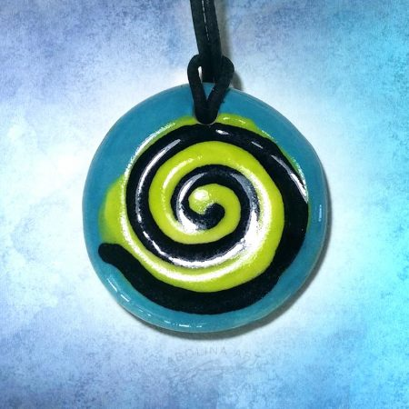turquoise and yellow spiral pendant