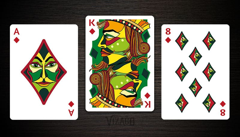 Ace, King and 8 of Diamonds