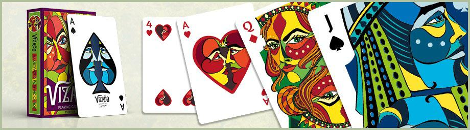 Tuck box and cards from VIZAĜO Lumina - red deck - by Abolina Art