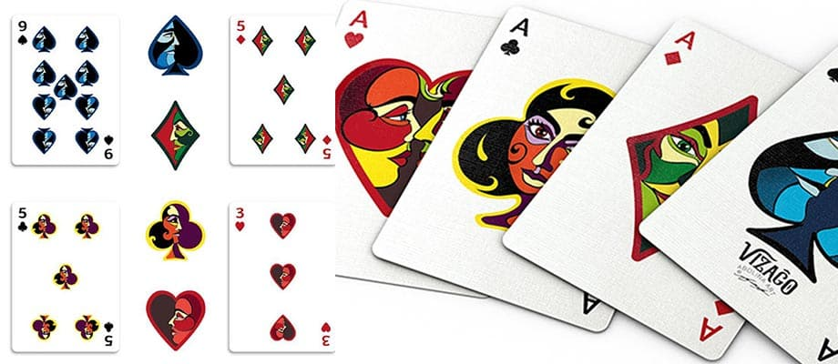custom pips and ace cards depicting faces by Abolina Art