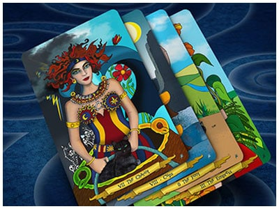 4 cards from hand illustrated tarot deck by Annette Abolins
