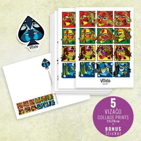 5 pack postcards with bonus sticker