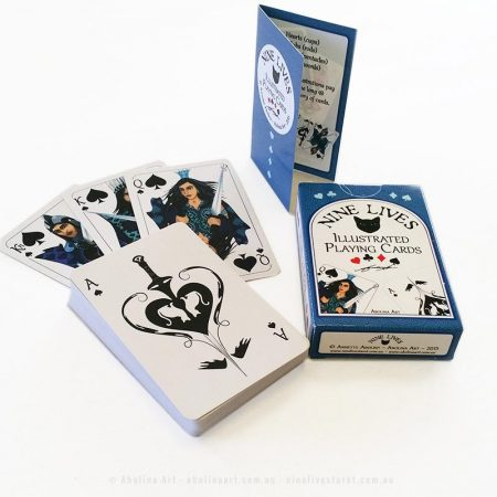 Tuck box, intro card, Royal Spades and Ace of Spades by Abolina Art