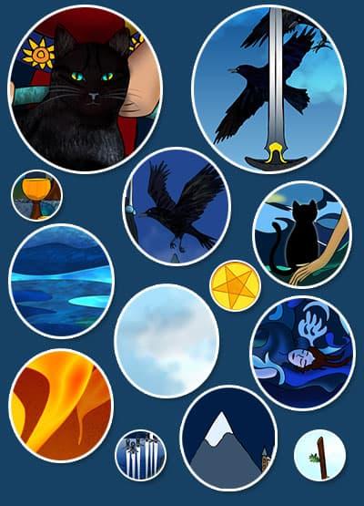 Symbols in Nine Lives Tarot cards