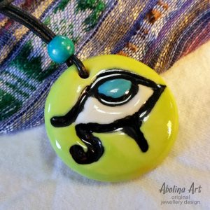 Eye Pendant stoneware clay with Lime turquoise colours