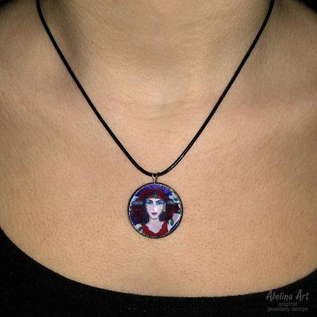 Magician pendant worn by model