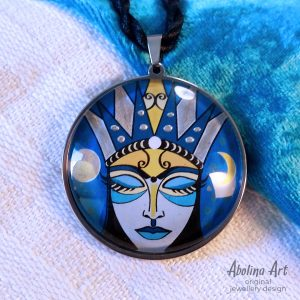 Moon Goddess - handcrafted original pendant art by Abolina Art