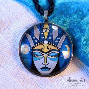 Moon Goddess - handcrafted original pendant art by Abolina Art