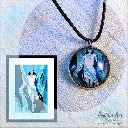 Returning art pendant displayed with artwork reference