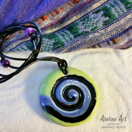 Lime Blue Spiral pendant stoneware clay
