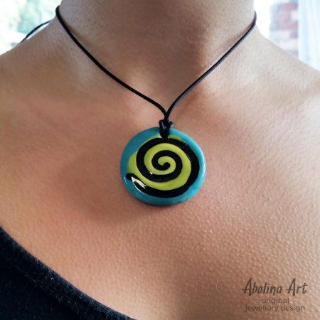 Model wearing Turquoise spiral pendant