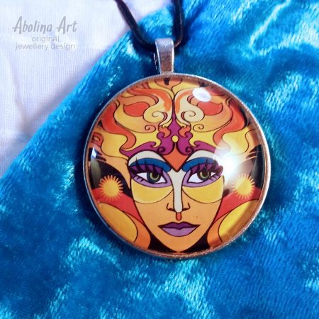 Sun Goddess glass dome original art pendant