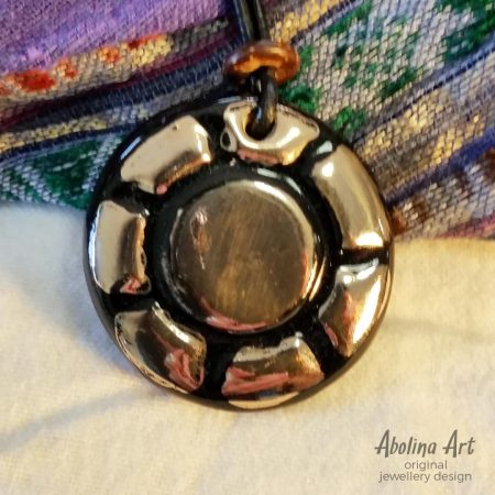 Sunray pendant kiln fired with platinum lustre
