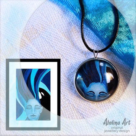 Tranquillity pendant displayed with artwork reference image