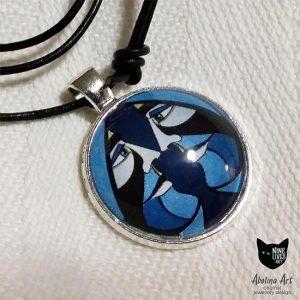 VIZAĜO Ace of Spades 25mm glass dome art pendant strung on black cord