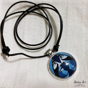 Ace of Spades 25mm glass pendant by Abolina Art