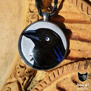 Black Raven art pendant 40mm strung on twisted silk cord