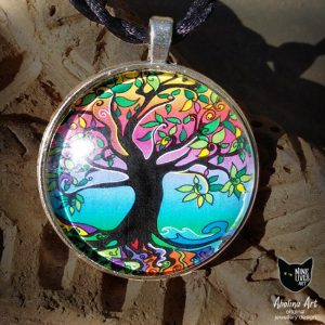 Tree of Life 40mm art pendant in gorgeous psychedelic colours
