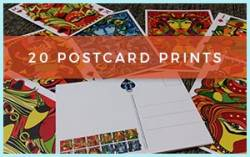 20pk postcard prints with designs from VIZAĜO Playing Cards
