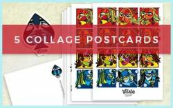 5pk postcard prints with designs from VIZAĜO Playing Cards