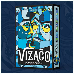 Lumino - blue colour version of custom playing cards with bright faces by Annette Abolins