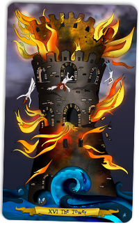 The Tower - Tarot illustration by Annette Abolins