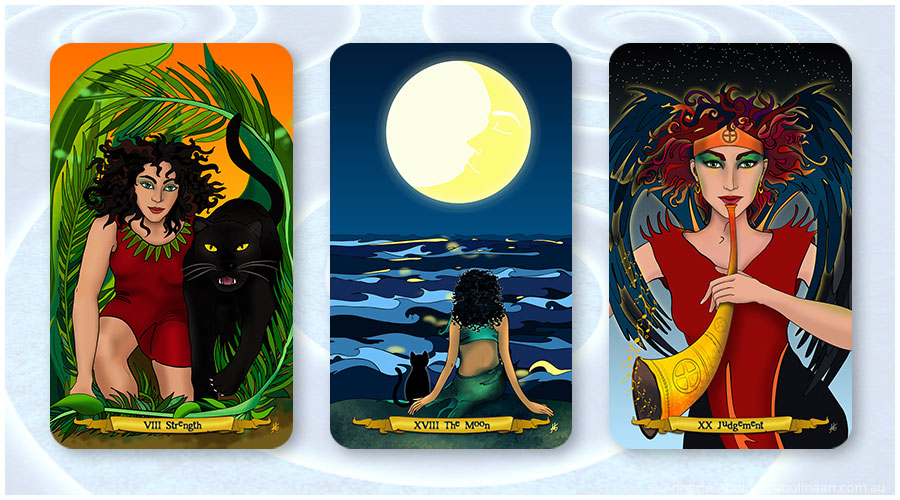 illustrated tarot by Annette Abolins Strength, The Moon and Judgement
